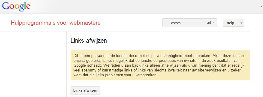 Webmaster-Hulpprogrammas-waarschuwing