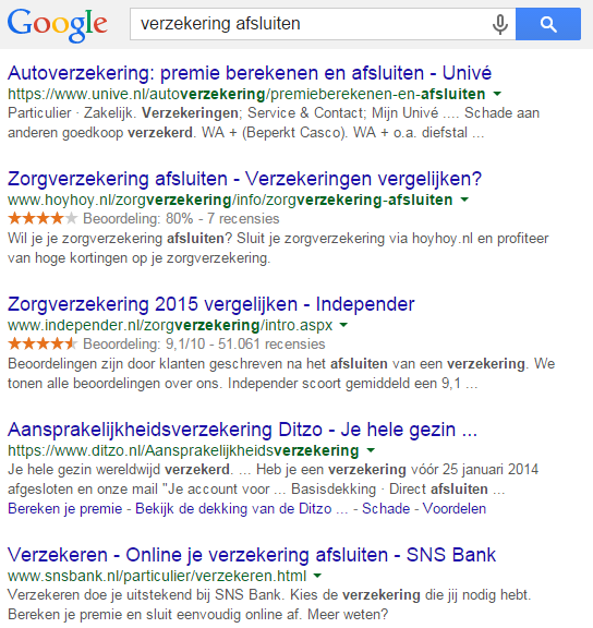 Reviews in de Google zoekresultaten